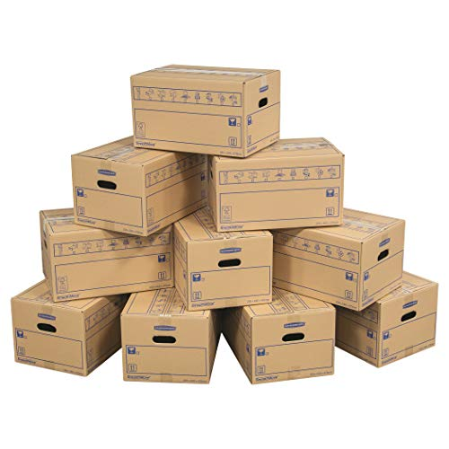 BANKERS BOX 10 SmoothMove Heavy Duty Double Wall Cardboard Moving and Storage Boxes with Handles, 39 Litre, 26 x 32 x 47 cm, 10 Pack, Brown