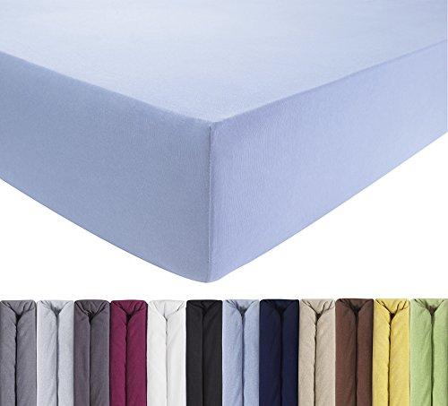 ENTSPANNO Jersey Spannbettlaken für Wasser- und Boxspringbett in Hellblau aus gekämmter Baumwolle. Spannbetttuch mit Einlaufschutz, 180 x 200 | 200 x 200 | 200 x 220 cm, bis 40 cm hohe Matratzen