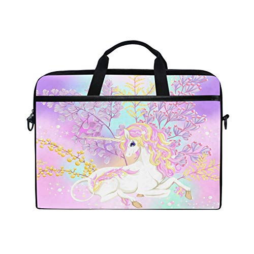 Moyyo Fantsatic Flowers and Unicorn Laptop Bag Laptop Case with 3 Compartment Shoulder Strap Handle Canvas Computer Bag Personalised for Women Men Kids Girls Boys 15 inch