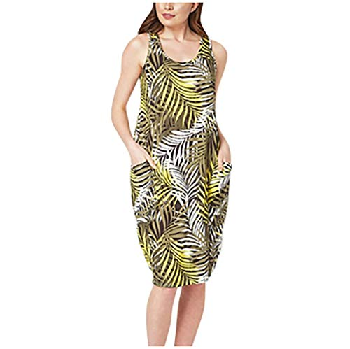 Review AgrinTol Women Summer Dress Sleeveless Print Evening Party Beach Dress Short Dress Plus Size ...