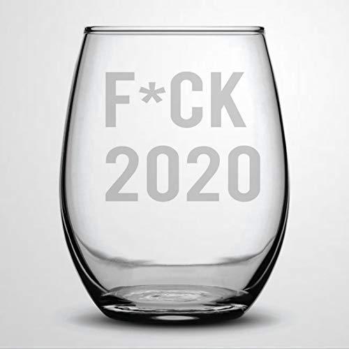 FCK 2020 Copa de vino sin tallo, vaso de chupito de whisky grabado, perfecto para padre, madre, niño o novia, amiga
