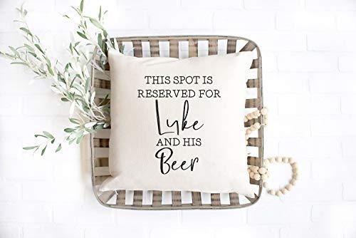 Cojín personalizado, funda de almohada personalizada, almohada divertida, este lugar está reservado para su cerveza, cumpleaños, regalo de cerveza, él