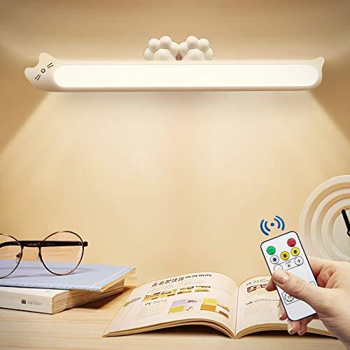 JMZZY Barra de luz nocturna regulable con control remoto para niños, lámpara de noche de carga USB para niños, para leer, armario, armario, espejo de maquillaje, dormir, luz de estudio (blanco)