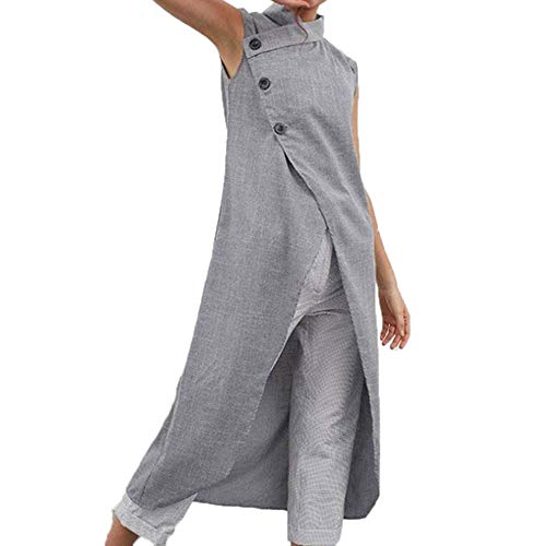 Huateng Ärmelloser Langer Frauen-Trenchcoat, Weste aus unregelmäßigem Baumwoll-Leinenanzug