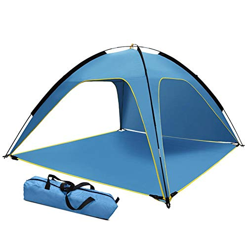 N/I Beach Tent, Portable Outdoor Beach Park Camping Tent, Polyester Coated Silver 3 Sides Ventilated, Sun-proof And Waterproof, Suitable For Travel, Fishing, Picnic