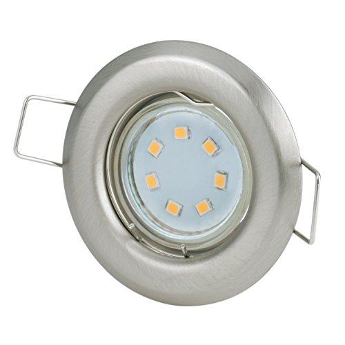 Einbaustrahler Set 230Volt 2,2Watt 180Lumen GU10 Leuchtmittel warmweiss   kleiner Spot Ø60mm   Lochmaß: Ø40-45mm