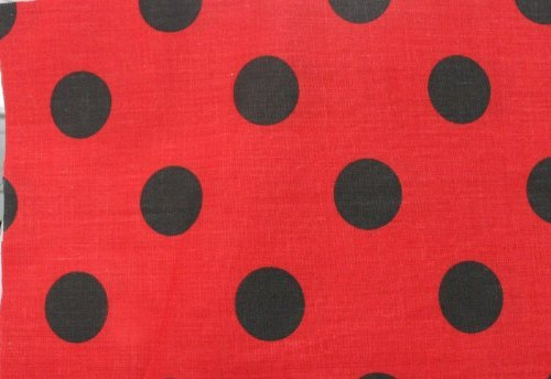 Polka Dot Poly Cotton Fabric Red / Black by New Star Fabric