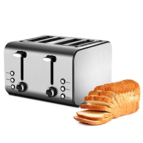 4 Slice Toaster with Reheat, Defrost and Cancel Function, Extra Wide Slots Compact Stainless Steel Toasters with 7 Toast Shade Settings and Removable Crumb Trays