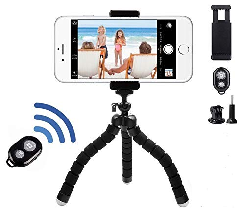 Selfie Tripod with Blue Tooth Shutter Remote and Universal Clip Holder for Cell Phone, GoPro, Digital Camera Flexible Octopus Gorilla Legs Will Wrap, Hang or Stand Anywhere! Perfect for Zoom Calls!