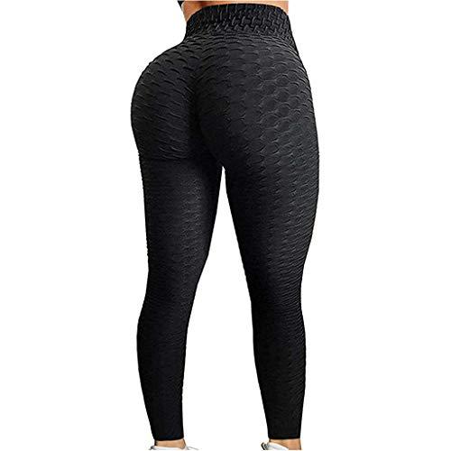 Anti-Cellulite-Kompressionsgamaschen, Dehnbare Gymnastik-Hosen mit hoher Taille für Frauen Bauchkontrolle Workout Geraffte Hinternheben (S)