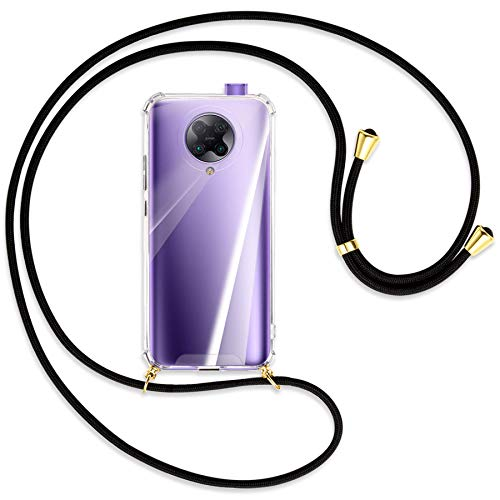 mtb more energy® Collar Smartphone para Xiaomi Poco F2 Pro, Redmi K30 Pro, K30 Ultra (6.67'') - Negro/Oro - Funda Carcasa Anti Shock con Correa para Hombro