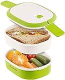 Rosenstein & Söhne Dosen: Lunchbox mit 2 Etagen und Tragegriff, Clip-Deckel, BPA-frei, 700 ml (Brotdosen)