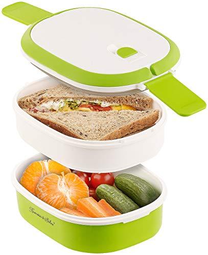 Rosenstein & Söhne Dosen: Lunchbox mit 2 Etagen und Tragegriff, Clip-Deckel, BPA-frei, 700 ml (Frühstücksdose)