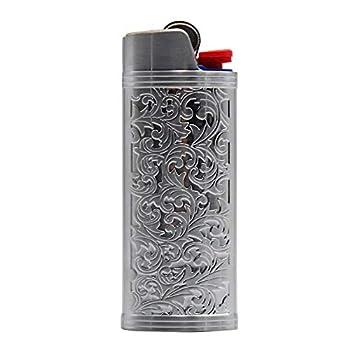 Lucklybestseller Metal Lighter Case Cover Holder Vintage Floral Stamped for BIC Full Size Lighter J6