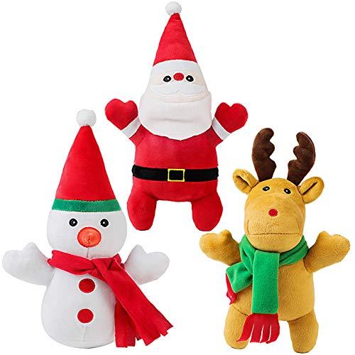 Dorakitten Christmas Dog Squeaky Toys,3 Pcs Small Dog Toys Squeaky Puppy Chew Toys Plush Dog Toy for Small Dogs with Squeakers for Small/Medium Dogs