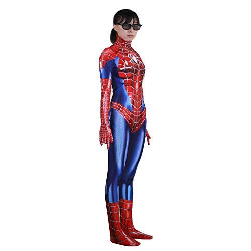 QWEASZER Weibliche Spiderman Bodysuit Spandex Overalls Das Erstaunliche Spider-Man-Kostüm der Frauen Halloween Halloween Show Cosplay Kostüm,Spiderman-S