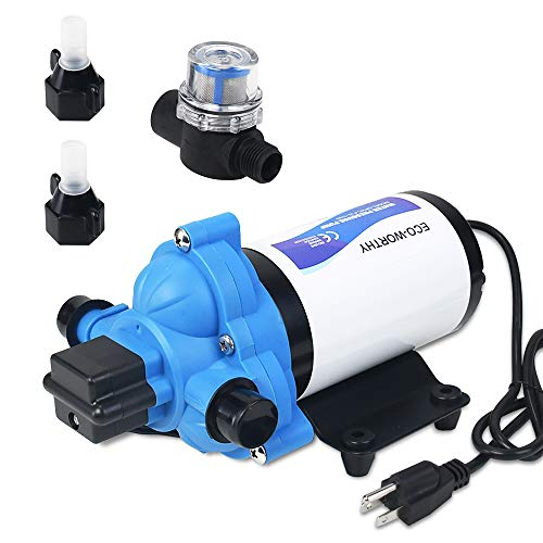 DC HOUSE 33-Series Industrial Water Pressure Pump, 115V 3.3 GPM 45 PSI Water Diaphragm Pump Power Plug for Bathroom Sprinkler Faucet Agricultural Irrigation