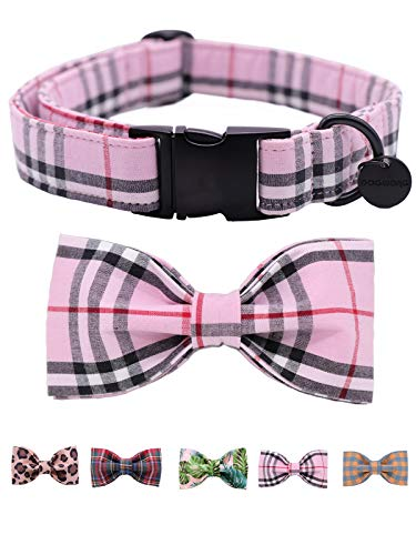 DogWong Cotton Dog Collar with Bowtie for Small Medium Large Dogs Plaid Pet Collar Comfortable Dog Collar, Bowtie Dog Collar Adjustable XXS-XL