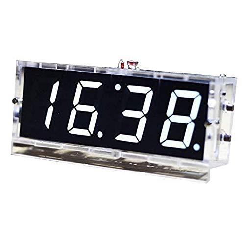 Gearwoo Zestawy do lutowania, 4-cyfrowe zestawy zegarów cyfrowych LED do rozmów zestaw DIY bez głośnika, PCB do lutowania praktyki nauki elektroniki + instrukcja w języku angielskim + przezroczysta obudowa (biała)