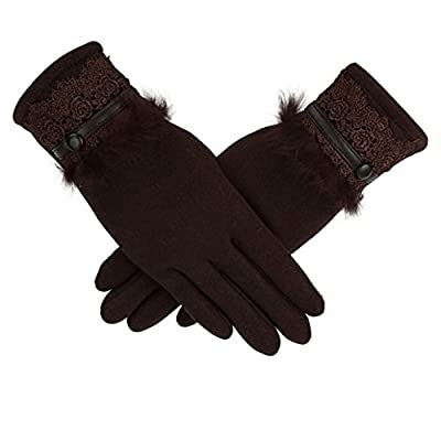 CMrtew Women Cashmere Waterproof Driving Full Finger Touch Screen Gloves