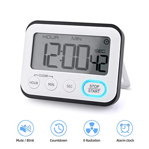 welltop Digital Kitchen Timer LCD Cooking Timer, Alarm and Clock, Count Down and Count Up, Magnetic Back and Free Stand, Loud Alarm Digital Timer Clock for Cooking Learning Metting Yoga and More