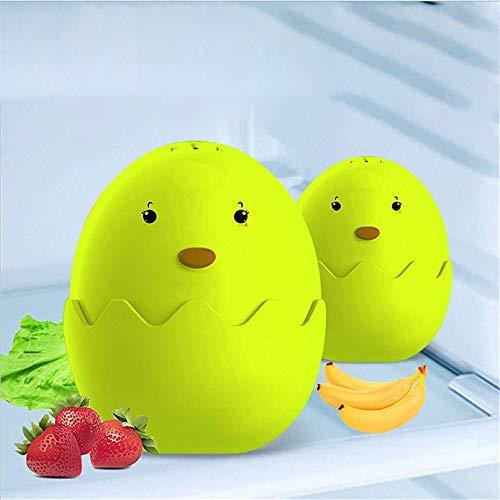 Huevo desodorante para nevera (paquete de 2), caja desodorante para nevera, desodorante para diatomeas, desodorante de carbón activado para huevos limpieza olor para nevera (Verde)