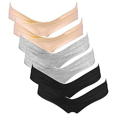 Intimate Portal Women Under The Bump Maternity Panties Pregnancy Postpartum Underwear 6 Pack Black Gray Beige Large