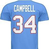 HOFSM.COM Hall of Fame Sports Memorabilia NWT New Campbell #34 Houston Blue Custom Football T-Shirt Jersey No Logos Men's (Large)