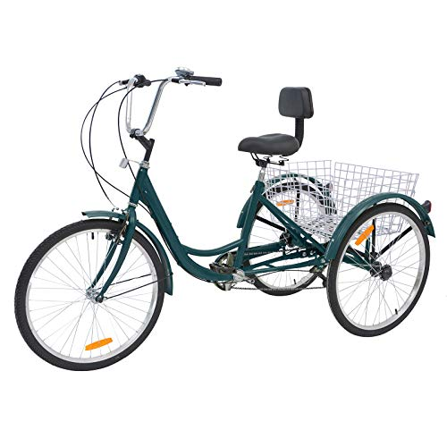Barbella Adult Tricycle, 24-Inch Single and 7 Speed Three-Wheeled Cruise Bike with Large Size Basket for Recreation, Shopping, Exercise Men's Women's Bike (Malachite Green)