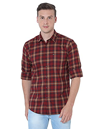 OXY-GENTZ Men's Red Checked Stretchable Cotton Lycra Slim Fit Casual Shirt