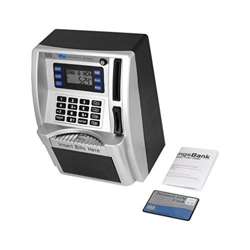 ATM Savings Bank Toys Kids Talking ATM Savings Bank Insertar Billetes perfectos para Regalo de niños Detector de Moneda de dólar (Plateado y Negro)
