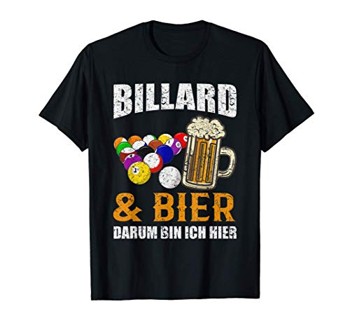 Herren Lustiges Pool Billard Spruch Snooker Sport Billard & Bier T-Shirt