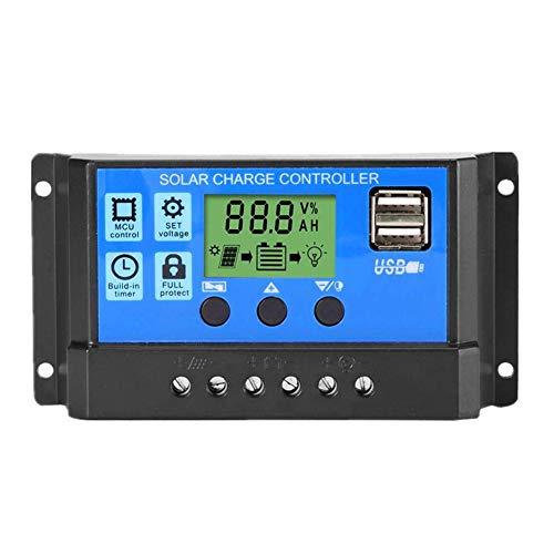 Panel del Controlador De Carga del Regulador del Sistema Solar con Pantalla LCD 12v 24v 10a Temporizador Ajuste De La Lámpara De Port