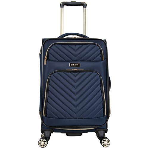 Kenneth Cole Reaction Women's Chelsea 20' Chevron Quilted Softside Expandable 8-Wheel Spinner Carry-On Suitcase, Navy, Inch