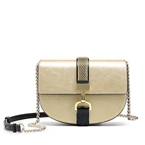 Frau alle treffer einfach kleine Tasche Kette mädchen Jahrgang Einer umhängetasche, 21 * 6,5 * 16cm,Champagner - Gold