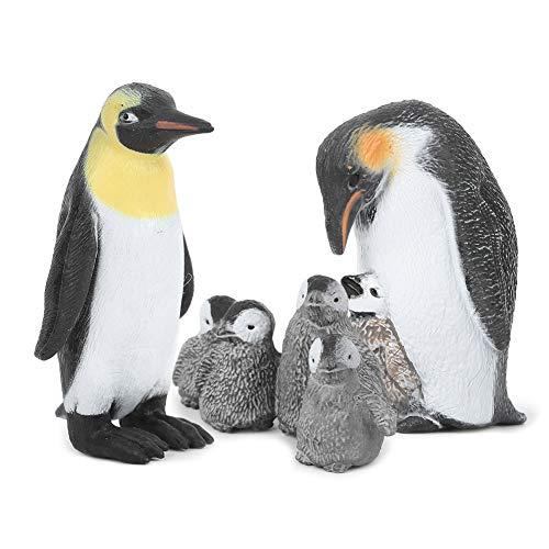 Labuduo Adorno de pingüinos, Lindo Modelo Animal no tóxico y Respetuoso con el Medio Ambiente, Materiales plásticos inodoros para niños domésticos(King Penguin Mother and Child)