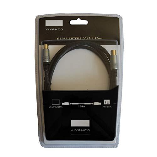 Cable de Antena VIVANCO 43910 Color Negro, 90dB, Longitud 1.5m