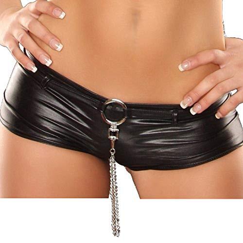 Gogo Hotpants mit kette Leder-Optik 34-38 schwarz