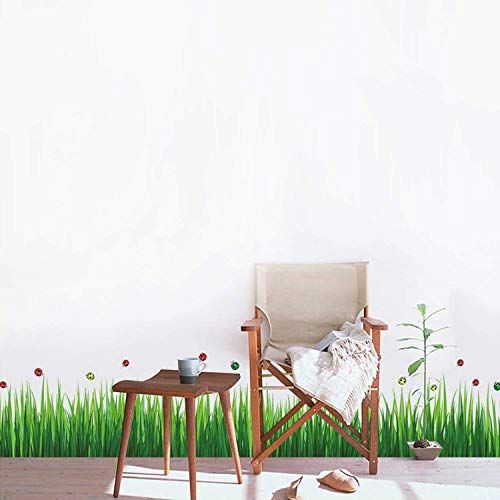 Walplus Wand Sticker Bunt Marienkäfer Gras Entfernbarer Selbstklebend Wandkunst Aufkleber Vinyl Wohndeko DIY Wohnzimmer Schlafzimmer Büro Dekor Tapete Kinderzimmer Geschenk, Mehrfarbig