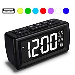 AZUTTA Digital Alarm Clock Radio with 7-Color Digit Display and Dimmer for Bedroom Travel Dorm Desk, Volume Adjustable, Snooze, Weekend, Calendar, DST, FM Sleep Timer, Nap Countdown, USB Phone Charger