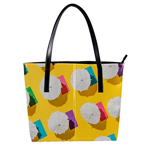 Sommerurlaub, Strand-Sonnenschirm und Handtücher, Damen, PU-Leder, modische Handtasche, Top-Griff, Schultertaschen
