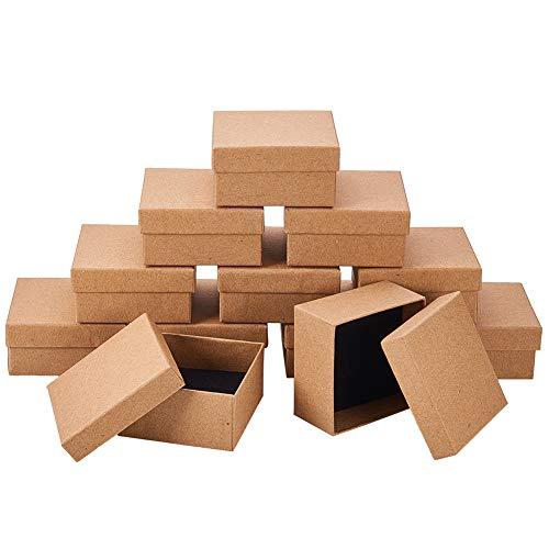 NBEADS 12Karton Schmuck Set Box, Für Ring, Halskette, Quadratisch, 7×7×3,5cm Hautfarben