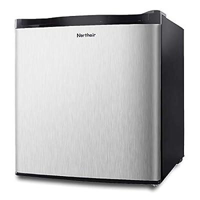 Northair Stainless Steel Upright Freezer - 1.1 Cubic Feet Freestanding Mini Freezer with Basket - Reversible Door Hinge