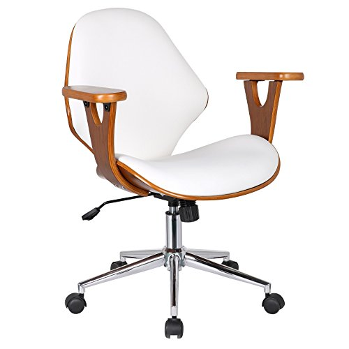 Porthos Home Lilian Office Chairs in Mid Century Modern Design with Arm Rests, Leather Upholstery, Height Adjustment & Stainless Steel Legs