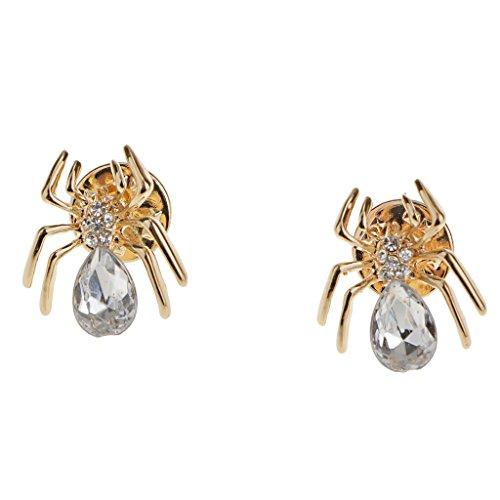 harayaa Pin de Cuello de Broche de Araña Vintage de Diamantes de Imitación de Cristal de Oro Punk único Caliente