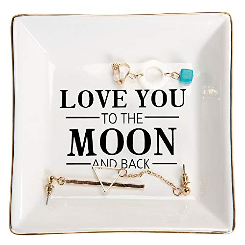 HOME SMILE Wife Gifts From Husband for Mother's Day Birthday Valentines Anniversary Ring Trinket Dish-I Love You to The Moon and Back