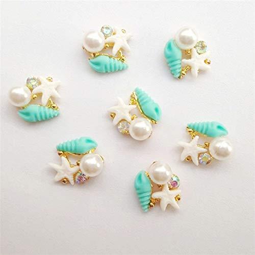 20pcs new Alloy 3D Nail Art Stickers shell starfish pearl jewelry Glitter nail gel tools nail DIY Rhinestone Decorate (1)