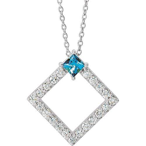 Solid Platinum Solitaire Aquamarine and 3/8 Cttw Diamond Charm Pendant Chain Necklace Adjustable 16