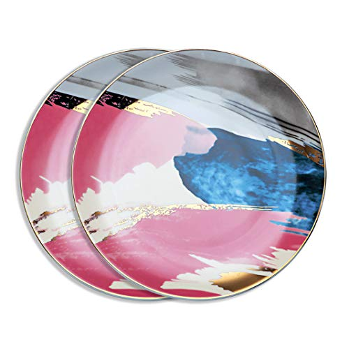 Home - Juego de 2 platillos (porcelana, 20 cm x 2 unidades), multicolor