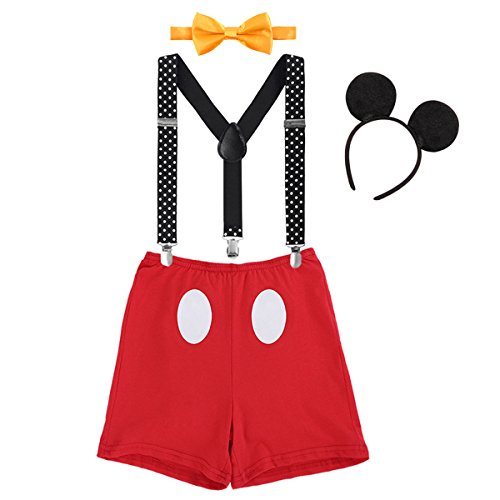 IBTOM CASTLE Säugling Baby Jungen Mädchen Mickey Mouse 1. / 2./ 3. Geburtstag Halloween Kostüm Outfit Set Unterhose+Fliege + Y-Form Hosenträger+Maus Ohren 4pcs Bekleidungssets 006 Rot 2-3 Jahre